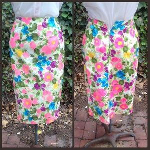 Vintage 50's floral pencil skirt XS